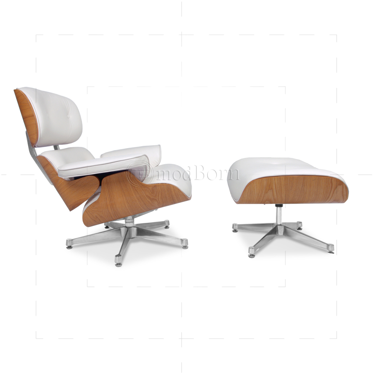 Modborn Furnitures Product Gallery - White leather lounge chair